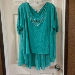 French Laundry Teal Scoop Neck Pleated Accent Top